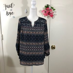 DANIEL RAINN TRIBAL PRINT TOP LONG SLEEVES SIZE SM